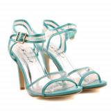Sandale cu toc Electra turquoise / verzi