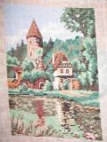 "Goblen ""Foisor de vanatoare"", 12 x 16 cm, 17 culori, nou, niciodata inramat."