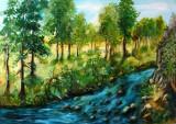 Pictura, tablou cu peisaj cu padure, pictura originala ELENA BISSINGER 2017 #585, Peisaje, Ulei, Realism