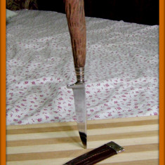 Cuțit cu mâner de corn căprior și teacă din piele - Briceag/Cutit vanatoare