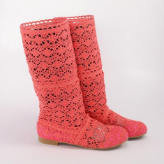 Cizme de vara crosetate Pretty Girl corai / roz, 35 - 38, Textil