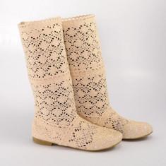 Cizme de vara crosetate Pretty Girl bej, 35 - 38, 40, Textil
