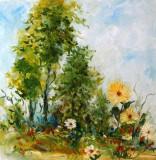 Pictura, tablou cu peisaj, flori, pictura originala ELENA BISSINGER 2017 #581, Peisaje, Ulei, Realism