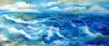 3 tablouri, pictura cu peisaj marin, pictura originala ELENA BISSINGER 2016 #591, Peisaje, Ulei, Realism