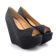 Pantofi cu platforma Loly negri - Pantof dama, Marime: 39