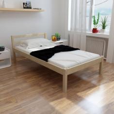 Pat din lemn masiv de pin 200 x 90 cm, natural