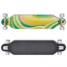 Longboard 107 cm din straturi de lemn de arțar cu ax skateboard Verde