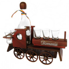 Minibar locomotiva din lemn cu sticla si paharute CDT-12-OSH