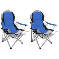 Set 2 scaune pliabile de camping XXL, Albastru - scaun camping