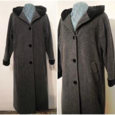 PALTON STOFA LANA CU GLUGA CAPTUSITA CU CATIFEA - Palton dama, Marime: 44, Culoare: Din imagine