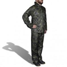 Costum ploaie bărbați 2 piese cu glugă Camuflaj XL - Costum barbati