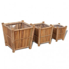 Set 3 ghivece din lemn de bambus căptușite cu nylon - Ghiveci