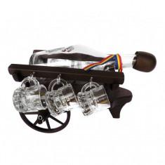 Minibar car din lemn cu sticla si paharute CDT-39-OSH