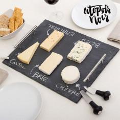 Planșetă Dreptunghiulară din Ardezie pentru Brânză cu Accesorii - Accesoriu electrocasnice bucatarie