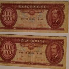 Bancnote vechi pt colectionari: 100 Forinti Maghiari, 2buc din anii 1984 si 1989, Europa