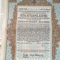 200 Coroane Austria 1916 Obligatiune la purtator cu cupoane