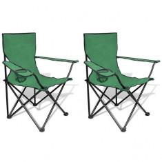 Set 2 scaune pliabile de camping, Verde - scaun camping