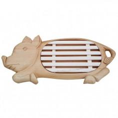 Gratar din lemn pentru paine in forma de purcel