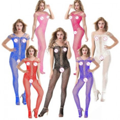 Lenjerie Lady Lust Sexy Bodystocking Fishnet Bourlesque Crotch Plasa Stocking - Dres, Marime: M, Culoare: Alb, Roz