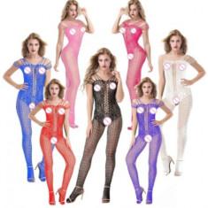 Lenjerie Lady Lust Sexy Bodystocking Fishnet Bourlesque Crotch Plasa Stocking - Dres, Marime: M, Culoare: Alb, Roz