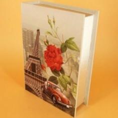 Set 2 cutii vintage tip carte, confectionate din lemn. - Paris si floare - Cadou
