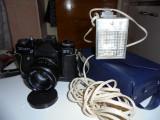 Aparat foto  profesionist cu film, cu blitz incorporat si huse, marca ZENIT