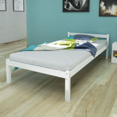 Pat din lemn masiv de pin, 200 x 90 cm, Alb