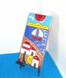 Placheta ceramica pictata email cloisonne, hand made - Peisaj - Tenerife, Spania