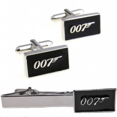 SET Butoni camasa si ac cravata model James Bond 007 + ambalaj cadou