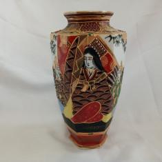 Vaza portelan Japonez Satsuma Moriage