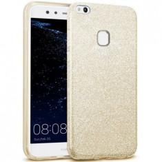 Husa protectie IMPORTGSM pentru Huawei P8/P9 Lite 2017, Silicon, Sclipici, Capac Spate, Aurie - Husa Telefon