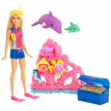 Set joaca Papusa Barbie Comoara din ocean si delfinul magic FCJ29 Mattel