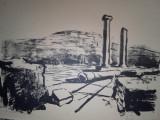 """MARCEL CHIRNOAGA- LITOGRAFIE -  """"IN CETATEA HISTRIA"""" 1961"""