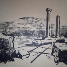 "MARCEL CHIRNOAGA- LITOGRAFIE -  ""IN CETATEA HISTRIA"" 1961, Abstract, Cerneala"