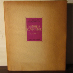 VERONICA PORUMBACU - MEMORIA CUVINTELOR(DEDICATIE SI AUTOGRAF) - Carte poezie