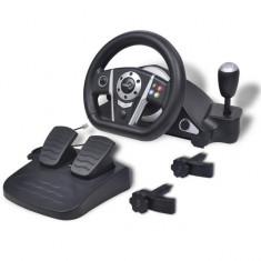Volan pentru jocuri de curse pentru PS2/PS3/PC, negru