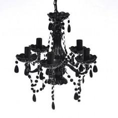 Lustră Cristal Artificial pentru 5 becuri Negru - Corp de iluminat
