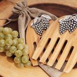 Bamboo Set rustic servere Salata cu un design struguri