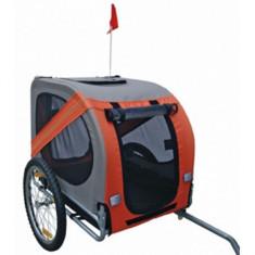 Cărucior pentru câini ataș la bicicletă, Portocaliu/Gri - Geanta si cusca transport animal