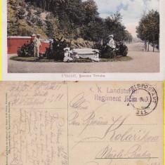 Salutari din Pitesti - Soseaua Trivalea-cenzura WWI, WK1 - Carte Postala Muntenia 1904-1918, Circulata, Printata