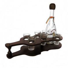 Minibar chitara din lemn cu sticla si 6 paharute CDT-29-OSH