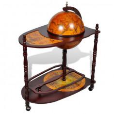 Masă cu bar în formă de glob pământesc cu roți