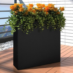 Ghiveci rectangular din ratan pentru grădină, 1 buc, Negru