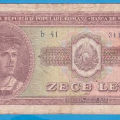 (2) BANCNOTA ROMANIA - 10 LEI 1952, REPUBLICA POPULARA ROMANA - Bancnota romaneasca