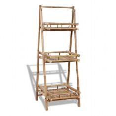 Suport pliabil pentru plante cu 3 rafturi din lemn de bambus - Ghiveci
