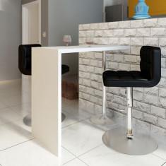 Masă de cafea bar masă de bucătărie lucioasă cu 1 picior, alb