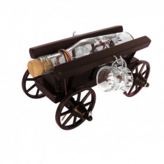 Minibar car mic din lemn cu 2 paharute CDT-07-OSH