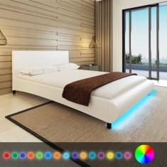 Pat piele artificială 140x200 cm LED, alb + saltea spumă memorie