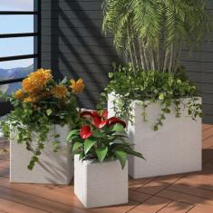 Ghiveci pătrat din ratan pentru grădină, 3 buc, Alb