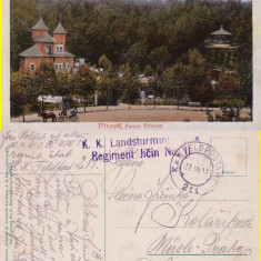 Salutari din Pitesti - Parcul Trivalea-cenzura WWI, WK1 - Carte Postala Muntenia 1904-1918, Circulata, Printata